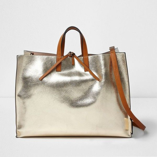 River Island Gold metallic tie top beach bag (£58) ❤ liked on Polyvore featuring bags, handbags, tote bags, bags / purses, gold, shopper & tote bags, women, shopping tote bags, white handbag and metallic tote bag