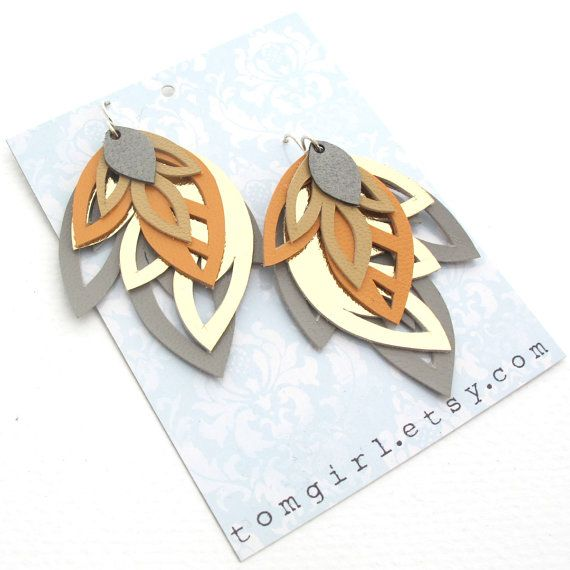 Peach, Grey and Gold Leather Earrings Leather + Big Shot?