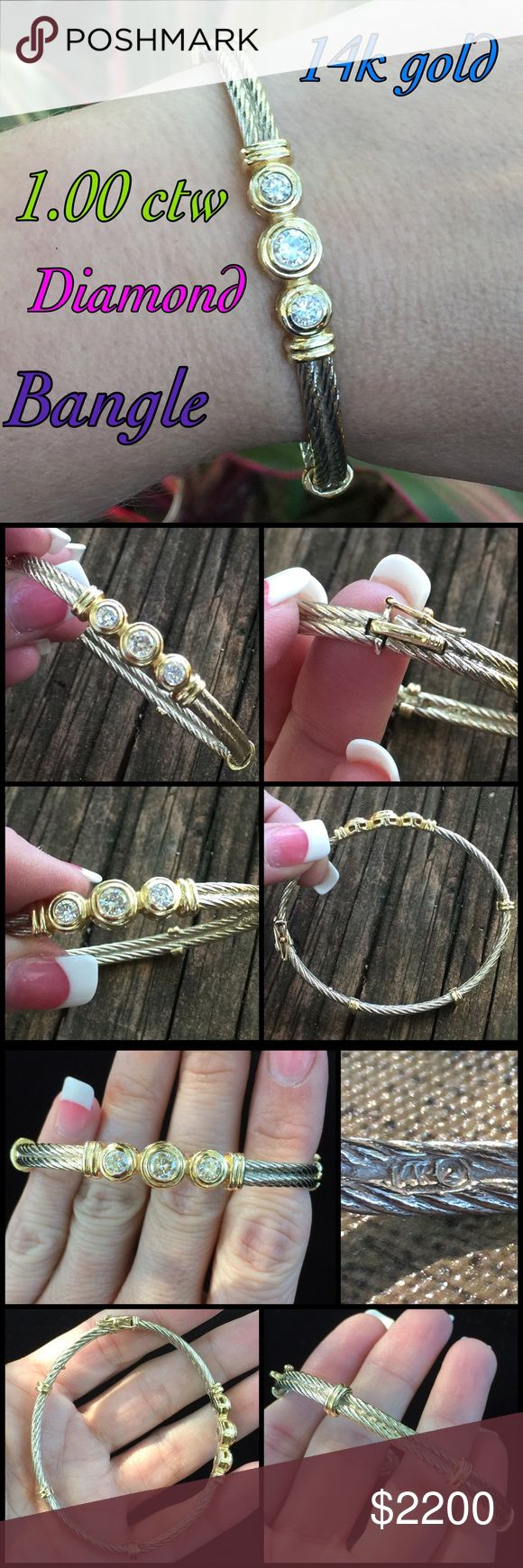 """14k gold 1.00 ctw Diamond Designer Bangle Stunning 14k Solid White Gold Cable Design w/ Yellow Gold Accents High Quality Designer 1.00 ctw Diamond Bangle. Measures 6.5"""" inside circumference. Marked 14k w/ triangle in circle makers mark, 76 KDJ 221231. Center diamond 0.50 ctw, 2 side diamonds are each 0.25 ctw. Weighs 23 grams! Bangle is in great condition, ready to wear & enjoy everyday! Thanks 4 looking. I ship same day. Please make REASONABLE offer using offer button only. No low ball or…"""