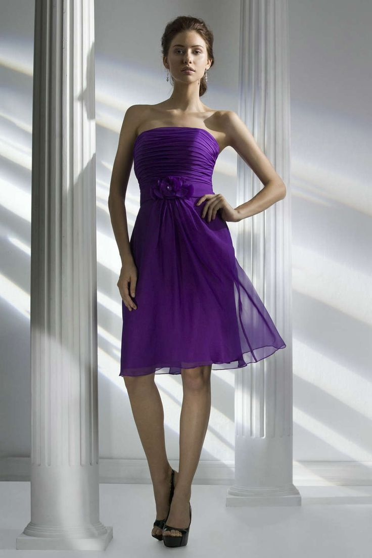 19 best purple bridesmaid dresses images on pinterest line strapless short chiffon bridesmaid dress in purple fashjourney ombrellifo Image collections