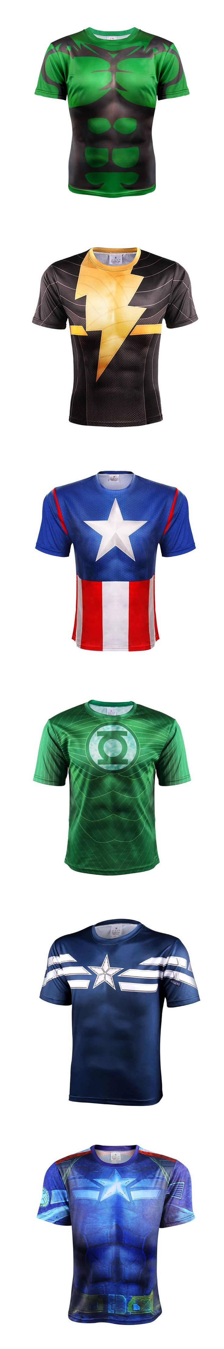Captain America/Spiderman 3D Printed T shirt Men  breathable Shirts 2017 Crossfit Tops For Male Fitness BodyBuilding Clothing WO