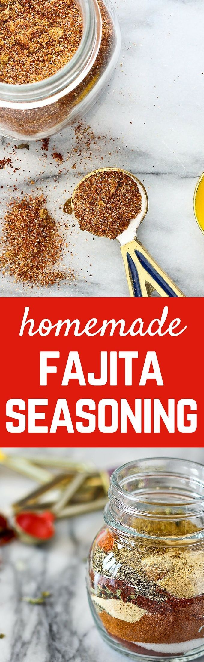 Making homemade fajita seasoning is so easy! No additives or artificial anything! Try it and you'll never go back to store bought packets. Get the EASY recipe on http://RachelCooks.com!