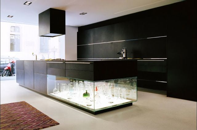 Bulthaup Kitchen Island with Integrated Glass Showcase. Displayed in Milan expo periode in 2013. at Via Durini