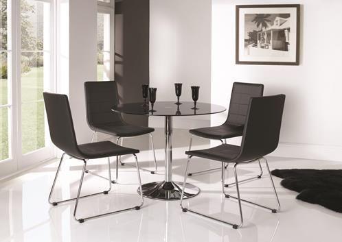 Dining table, Chrome, Orbit,  glass table, glass dining set, modern dining set, modern dining table, contemporary dining table, contemporary dining set