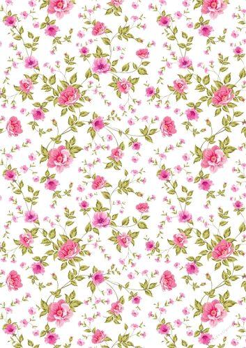 Pink flowers Floral paper for cards/ scrapbook lrg - CraftsuPrint