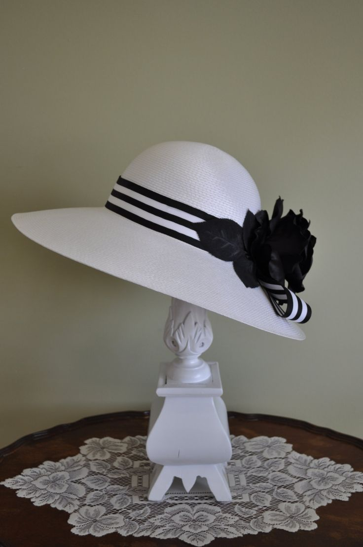 Black and White Floral High Tea Hat, Garden Party, Hat Party, Hair Accessories, Kentucky Derby, Bridal Shower, Photography Prop by VintageCreationsAnna on Etsy