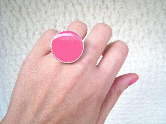 Pink ring pink resin ring rose pastel pink baby pink by xroma