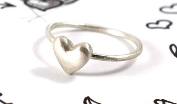 Heart ring sterling silver ring gift for her by Akatergasto