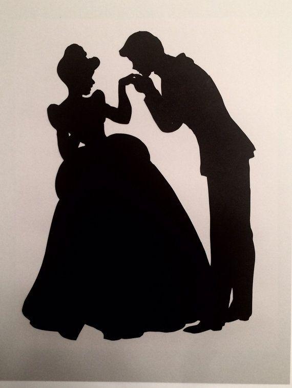 Handgefertigte 8 x 10 Cinderella und Prinz Charming Silhouette Cutout