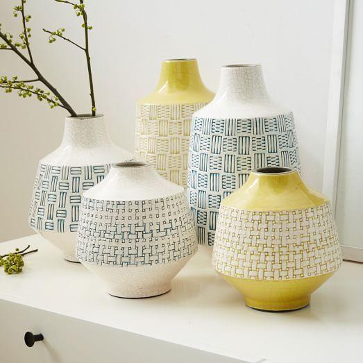 Basketweave Ceramic Vases | west elm
