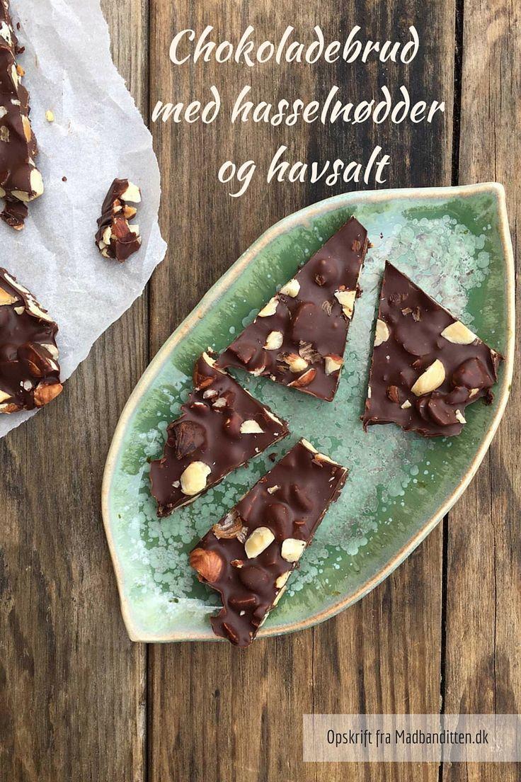 Chokoladebrud med hasselnødder og havsalt - en forførende chokoladesnack - opskrift her: Madbanditten.dk
