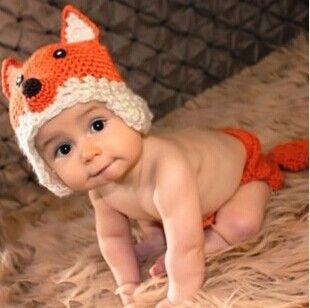 Baby Infant Newborn Crochet Knit Cap Fox Costume Photograph Prop Beanie Hat Set $8.99