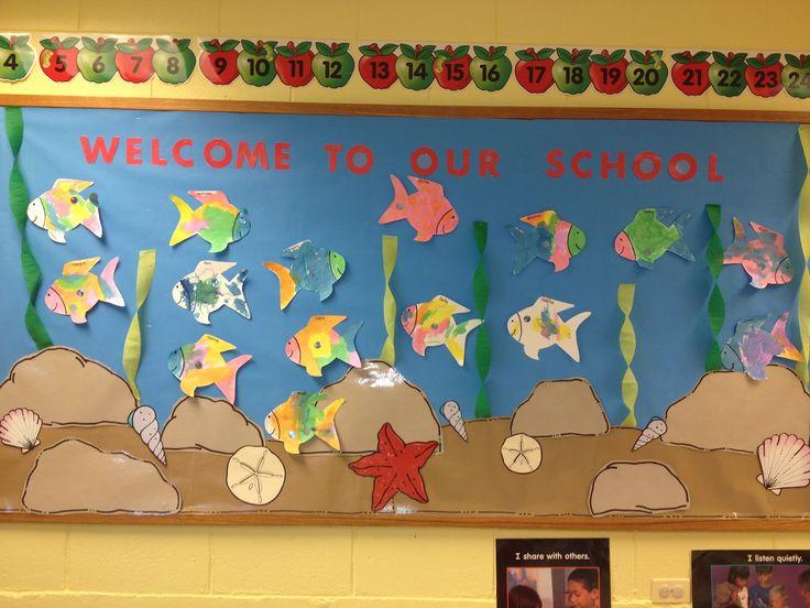 "preschool bulletin board ideas   ... Preschool MP: Welcome to our ""school"" Rainbow fish bulletin board"