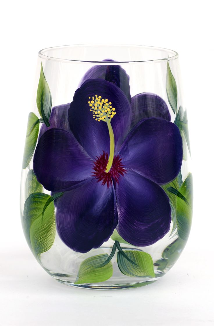 Purple Hibiscus Stemless Wine Glass