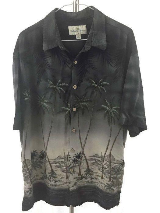 Hawaiian Cap Shirt Black Green Palm Trees Men's Size XL Aloha Island Shores  | eBay