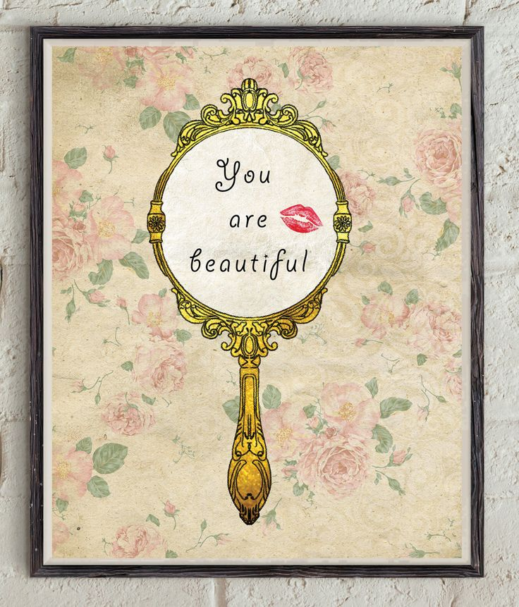 You Are Beautiful - Inspirational Quote - Motivational Print - Self Esteem - Printable Quote Decor - Mirror Art - Rose Pattern - Flowers Art by Lepetitchaperon on Etsy