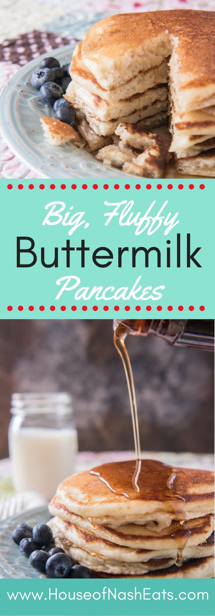 Golden and fluffy buttermilk pancakes with slightly crisp, buttery edges and a…