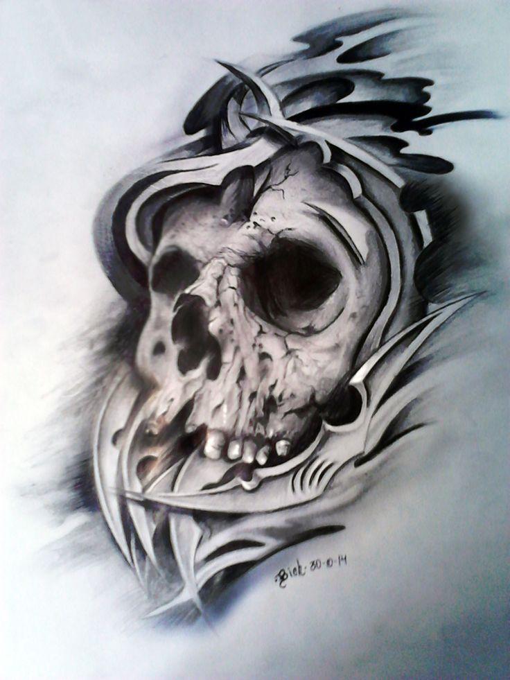 Boceto para tatuaje Craneo en sombras | Héctor León ...