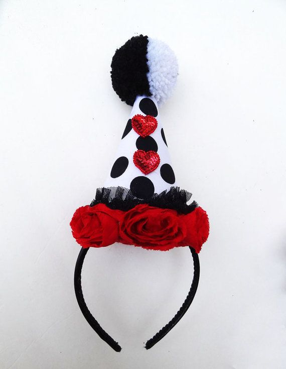 Clown Hat Circus Costume Red Hearts Black and by BatcakesCouture