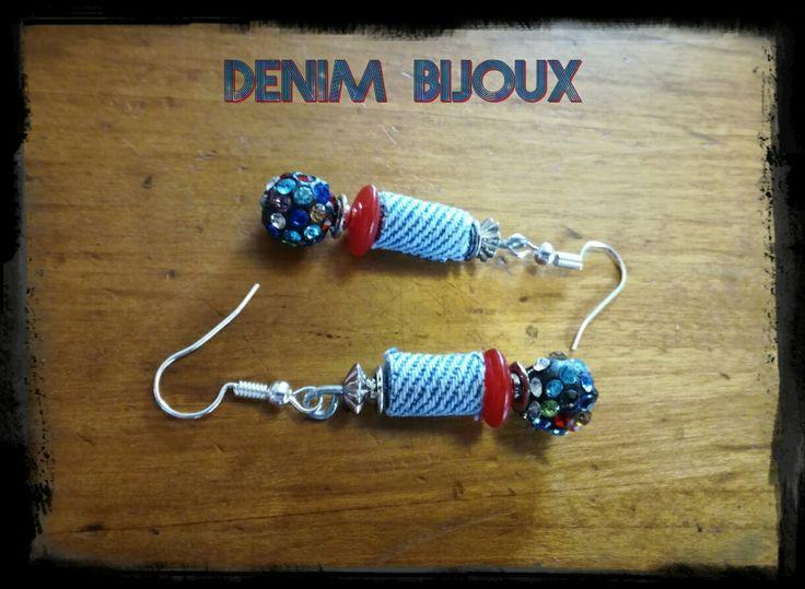 #denimcolors Boucles d'oreilles, perles et demin 5€