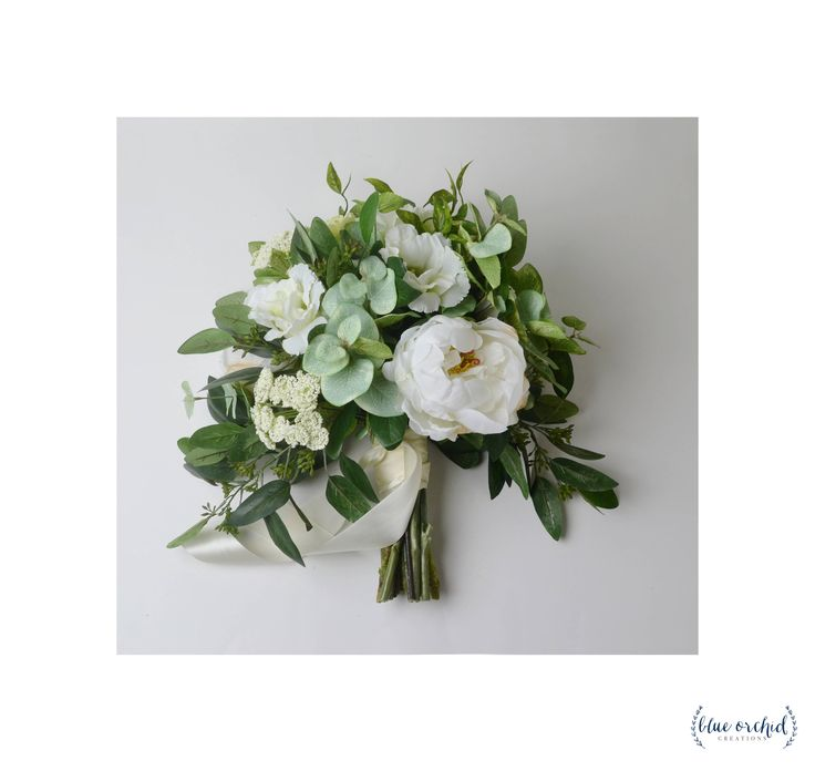 Wedding Bouquet, Boho Bouquet, Bridal Bouquet, Greenery Bouquet, Silk Flowers, Artificial Bouquet, Eucalyptus bouquet with white peonies, lisianthus, queen anne's lace, and seeded eucalyptus. FAUX FLOWERS! Wedding Flowers, Green, White, Cream by blueorchidcreations on Etsy