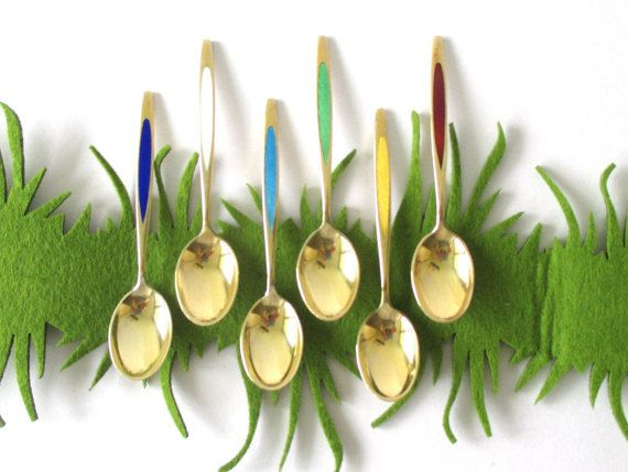 Midcentury Danish Meka sterling silver enamel demitasse spoons - the most luxurious way to stir your coffee or tea!