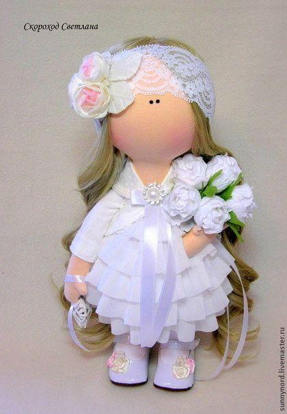 Человечки ручной работы. Ярмарка Мастеров - ручная работа. Купить Свадебный ангел.. Handmade. Белый, кукла в подарок, Кукольный трикотаж