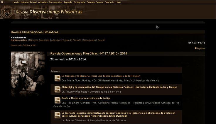 N U E V O  REVISTA OBSERVACIONES FILOSÓFICAS -  PUBLICACIÓN Nº 17, 2013 – 2014 ISSN 0718-3712 Director: Adolfo Vásquez Rocca D.Phil VER Número Completo: http://www.observacionesfilosoficas.net/nactual.html - PUBLICACIÓN Nº 16, 2013 REVISTA OBSERVACIONES FILOSÓFICAS Nº 16 – 2013 ISSN 0718-3712 Director: Adolfo Vásquez Rocca D.Phil VER Número Completo: http://www.observacionesfilosoficas.net/n16rof2013.html http://www.observacionesfilosoficas.net/