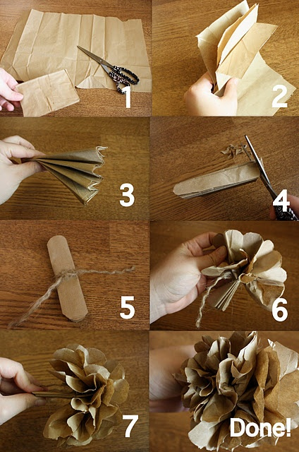 using paper bags to create decorative flowers. This is exactly how you make those tissue paper flowers that people love...and buy kits to make. Easy as pie.