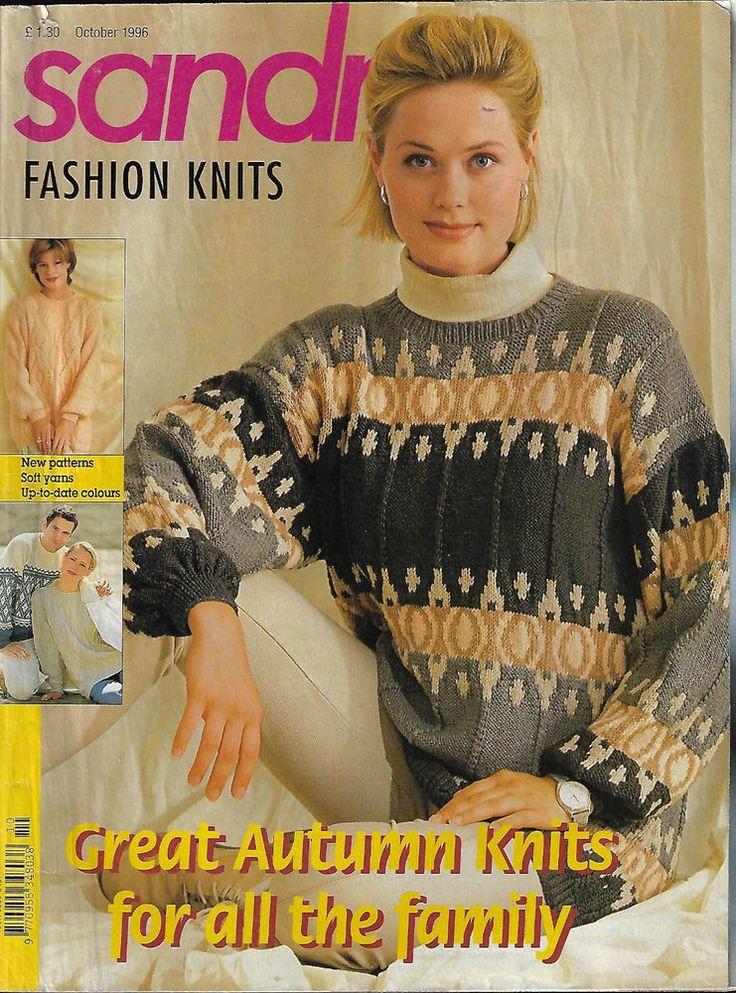Sandra knitting magazine October 1996 fairisle textured cable aran sweater  #Sandra