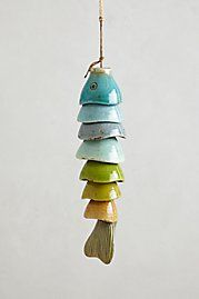 Windchime fish body, diy art craft, could use half 1/2 coconut shells, painted tropical colors for beach cottage home decor; Upcycle, Recycle, Salvage, diy, thrift, flea, repurpose! For vintage ideas and goods shop at Estate ReSale & ReDesign, Bonita Springs, FL