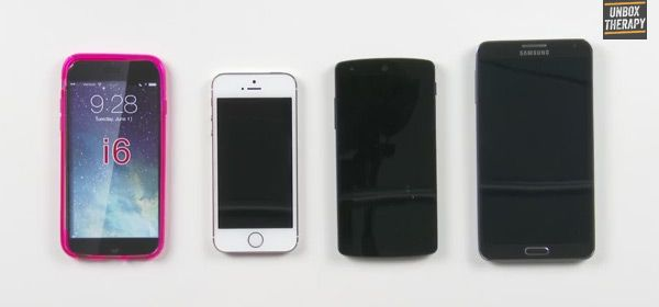 iPhone 6 case vs. iPhone 5S, Nexus 5 and Galaxy Note 3 – VIDEO  After leaked photos of the iPhone 6, a video that compares the case of the rumored smartphone to its competitors has surfaced online.
