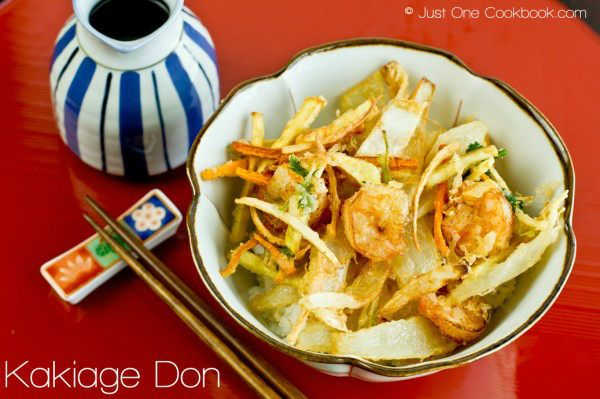 Kakiage don is a delightful donburi with fried shrimp, vegetable tempura, and poured with home-made tempura sauce over rice.