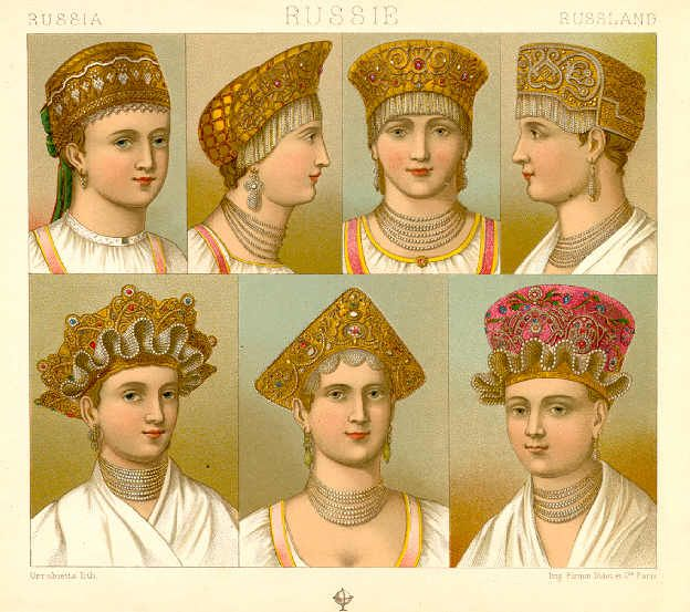 Variations on the kokoshnik. Yeah, George Lucas ripped this one off as well.