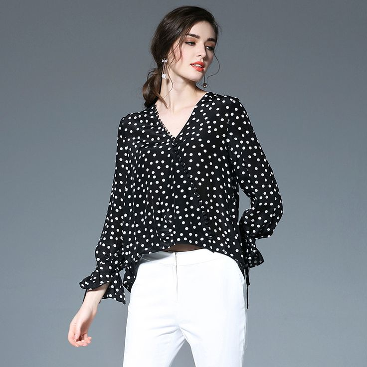 2017 New Kakagogo Vintage Casual Chiffon 100% Real Silk Polka Dot V-neck Loose Blouses Shirts Plus Size D059
