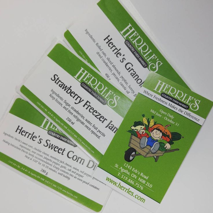 Printed business cards and labels for Herrle's Country Farm Market!  #printing #MoreThanJustSigns