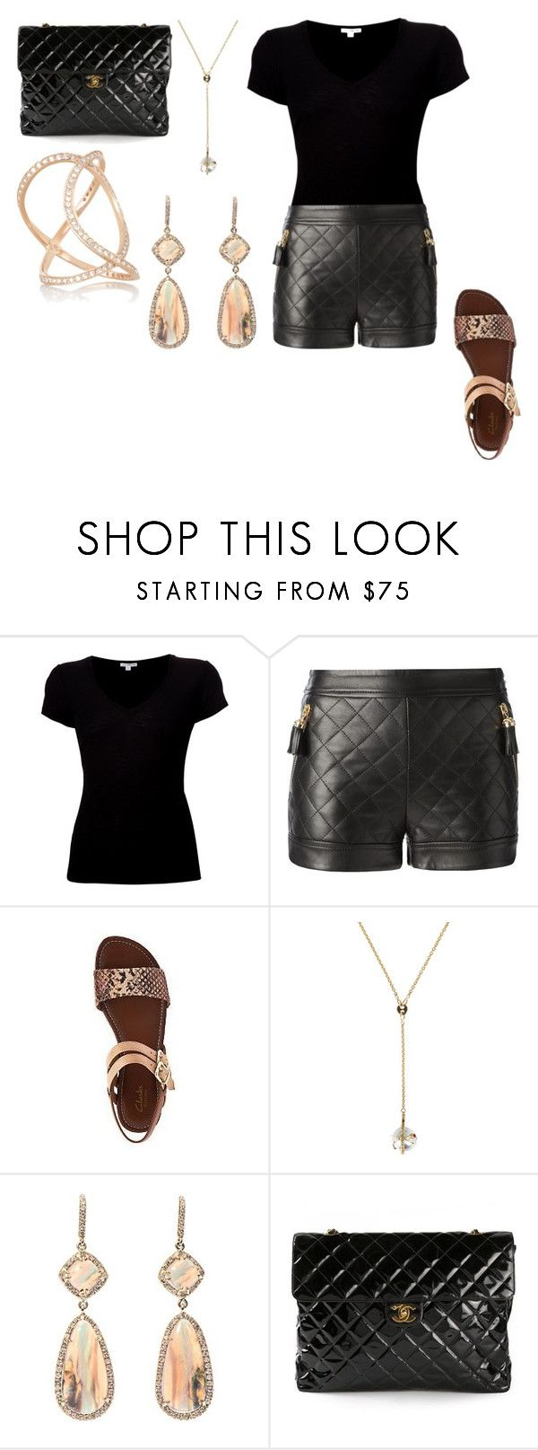 """Untitled #26758"" by edasn12 ❤ liked on Polyvore featuring James Perse, Moschino, Clarks, Ikuria, NSR Nina Runsdorf, Chanel and Anita Ko"
