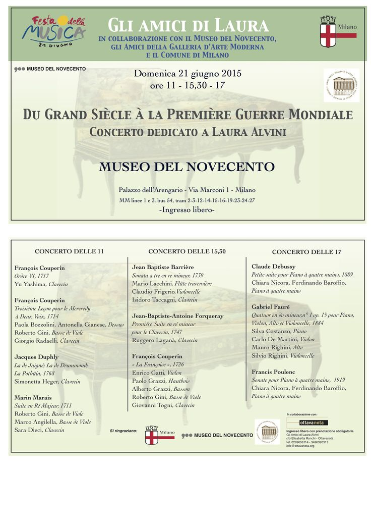 @OttavaNotaOrg organizza tre concerti per la festa della musica 2015 a Milano al @museodel900 Non mancate!