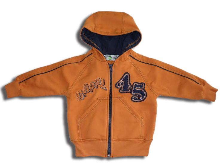 Narancs, pamut, kapucnis pulóver kisfiúk részére.