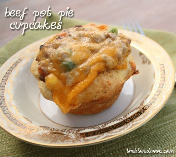 Miniature cheesy beef pot pies made with canned biscuits in a cupcake tin!