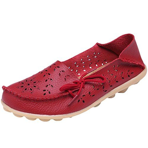 MatchLife Damen Vintage Leder Flach Pumpe Casual Schuhe Hollow Style3 Rot 39 - http://on-line-kaufen.de/matchlife/eu39-ch40-matchlife-damen-vintage-leder-flach-35