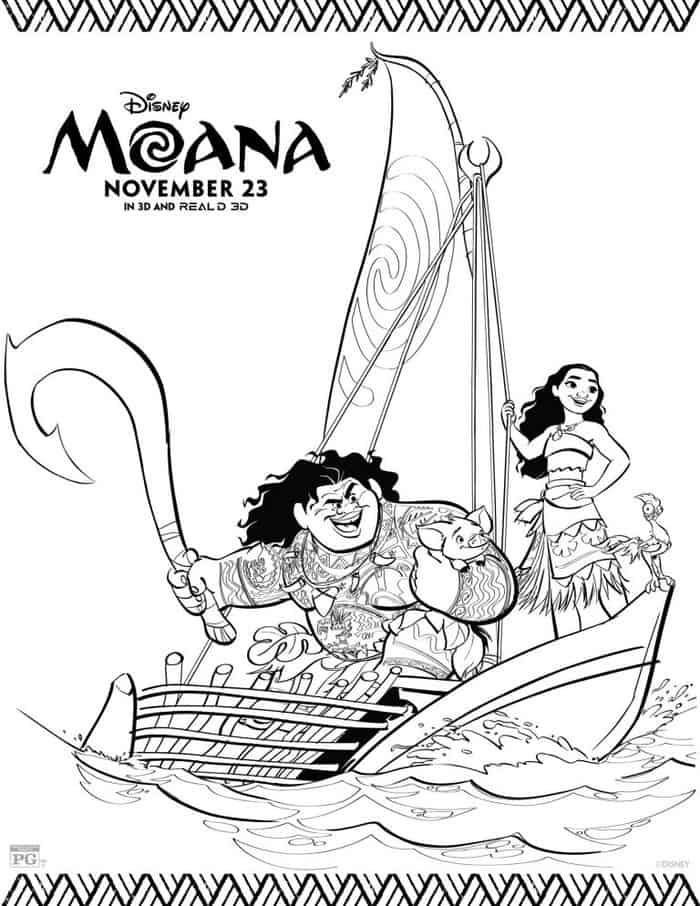 Maui And Moana Boat Coloring Pages Moana Coloring Moana
