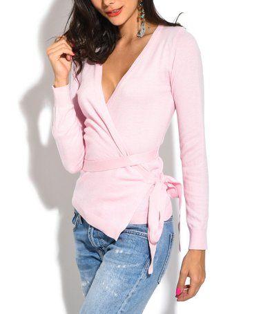 Love this Light Pink Cashmere-Blend Wrap Top on #zulily! #zulilyfinds