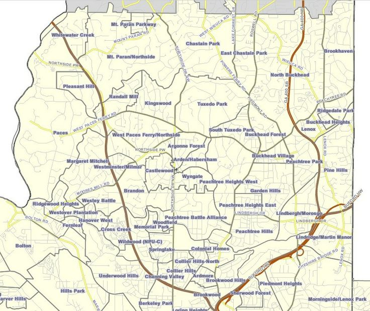 Neighborhoods in northern Atlanta Map, City maps