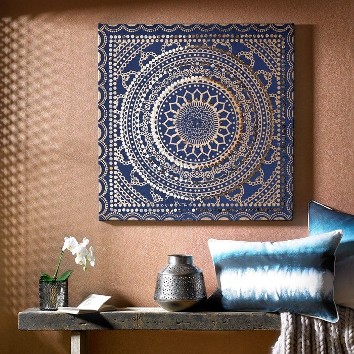 Embellished ink fabric canvas wall art by graham and brown