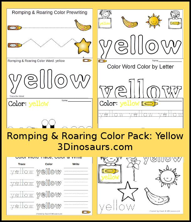 free romping roaring color pack yellow 8 pages of activities focused on the color word. Black Bedroom Furniture Sets. Home Design Ideas