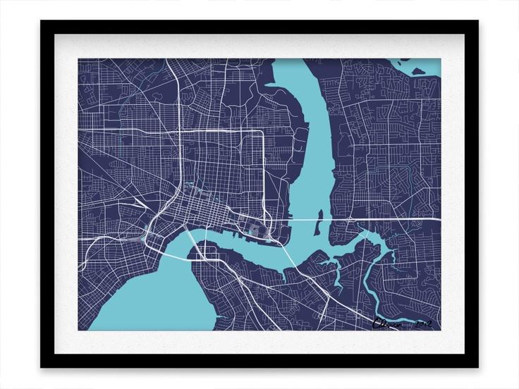 Jacksonville Map Print - Any Color You Like. $20.00, via Etsy....... looks a little bit like a heart cath to me