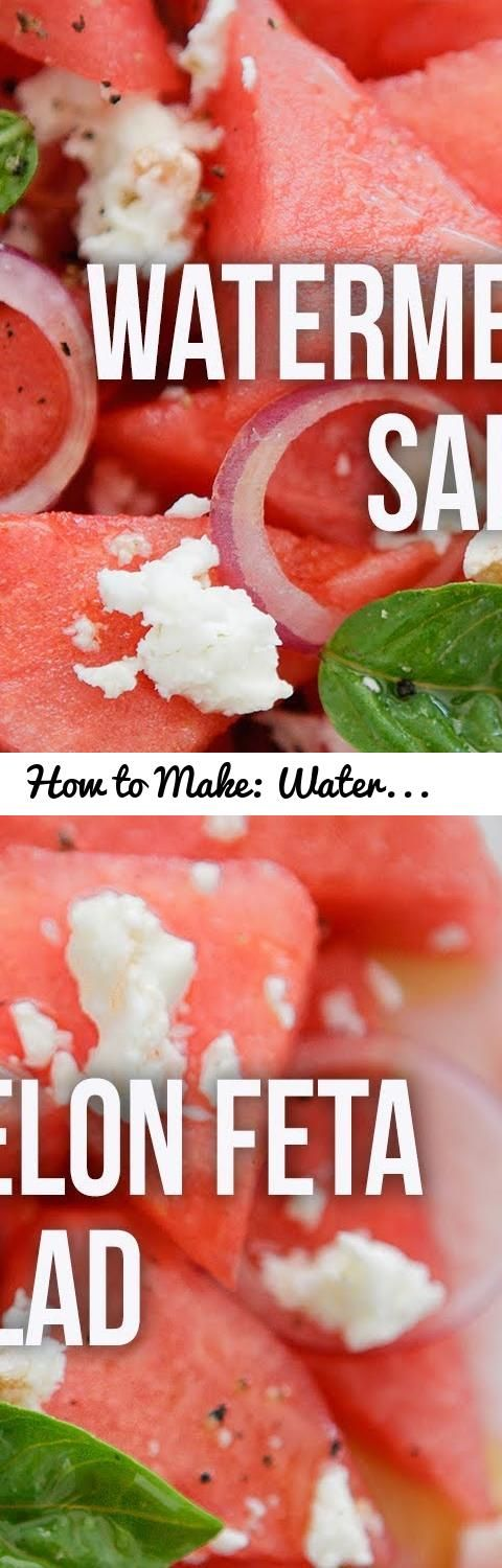 How to Make: Watermelon Feta Salad... Tags: watermelon, feta, cheese, salad, fruit, summer, chef, chef
