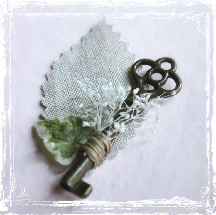 Skeleton Key Boutonniere - Groom Groomsmen Men Weddings Wedding Steampunk - Vintage Style Key To My Heart - Lapel Pin. $20.00, via Etsy.