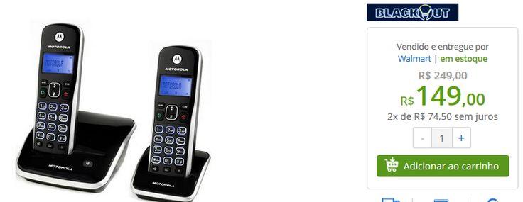Telefone sem Fio Motorola com Ramal Auri 3500 Identificador de Chamadas, Viva-voz, Agenda >